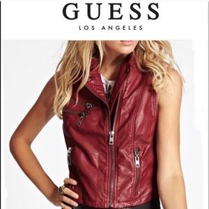 GUESS leather like Vest - NWOT size S